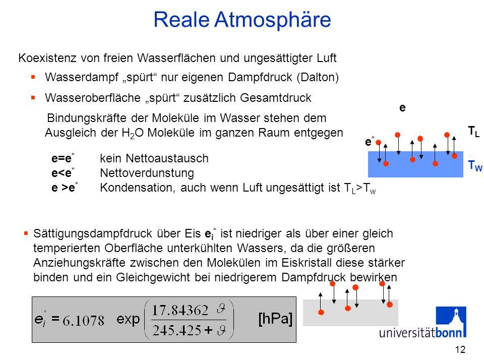 """Reale Atmosphäre Koexistenz von freien Wasserflächen und ungesättigter Luft. Wasserdampf """"spürt nur eigenen Dampfdruck (Dalton)"""