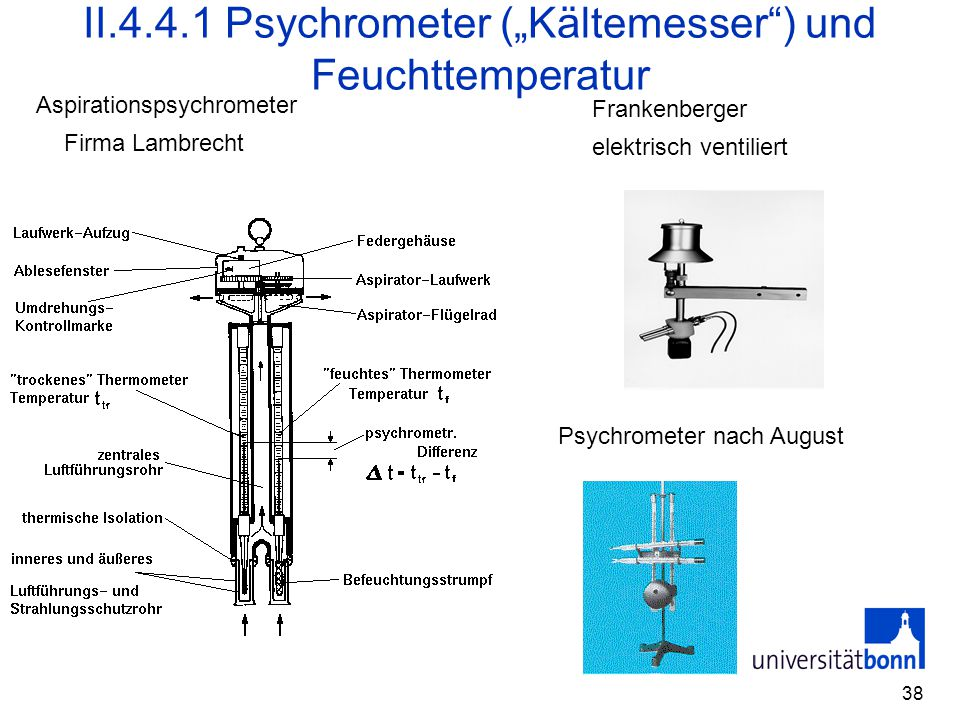 """II.4.4.1 Psychrometer (""""Kältemesser ) und Feuchttemperatur"""