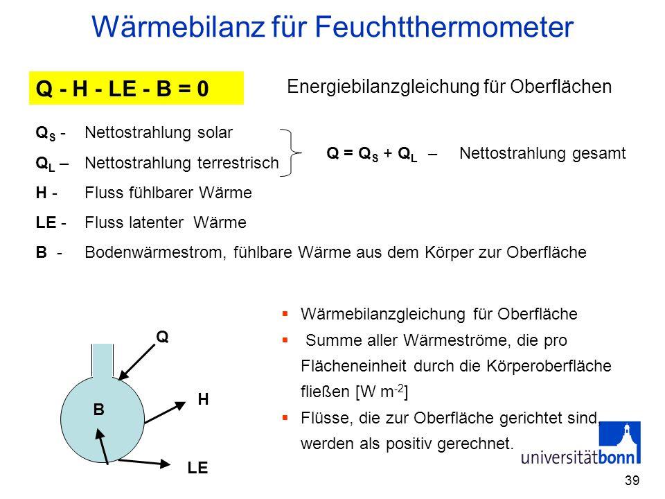 Wärmebilanz für Feuchtthermometer