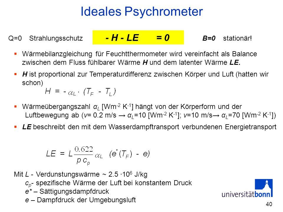 Ideales Psychrometer Q - H - LE - B = 0 Q=0 Strahlungsschutz