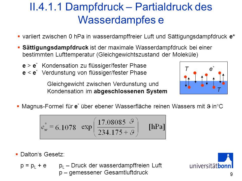 II.4.1.1 Dampfdruck – Partialdruck des Wasserdampfes e