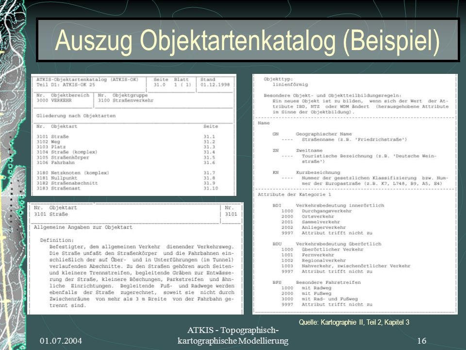 Auszug Objektartenkatalog (Beispiel)