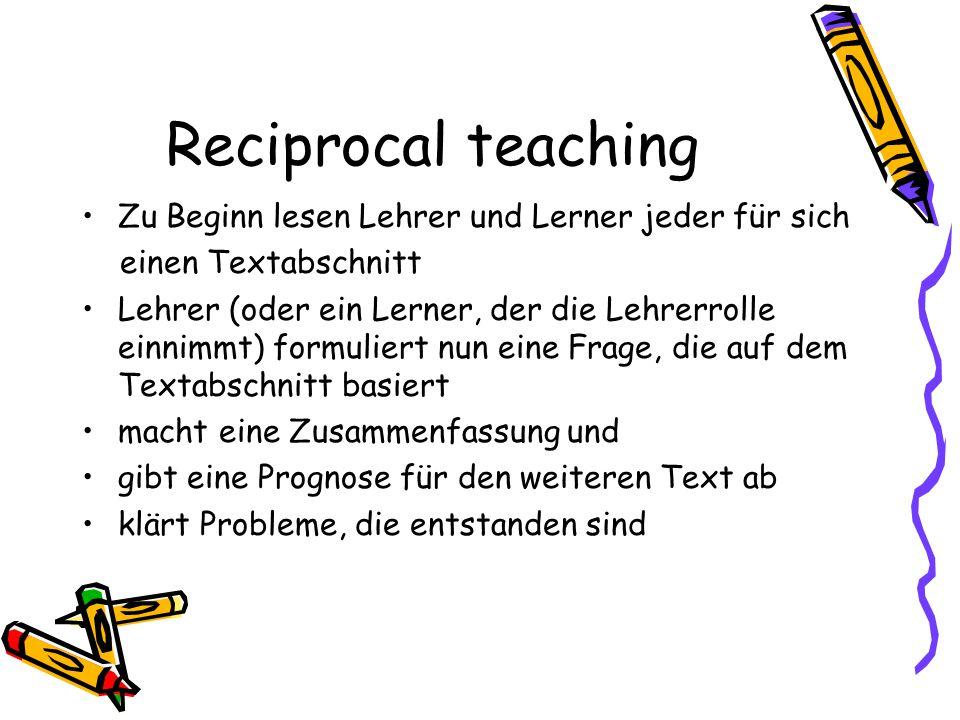 Reciprocal teaching Zu Beginn lesen Lehrer und Lerner jeder für sich
