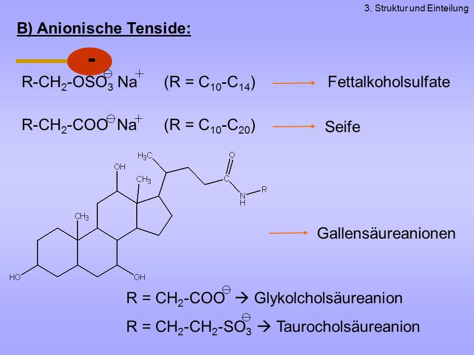 - B) Anionische Tenside: R-CH2-OSO3 Na (R = C10-C14)