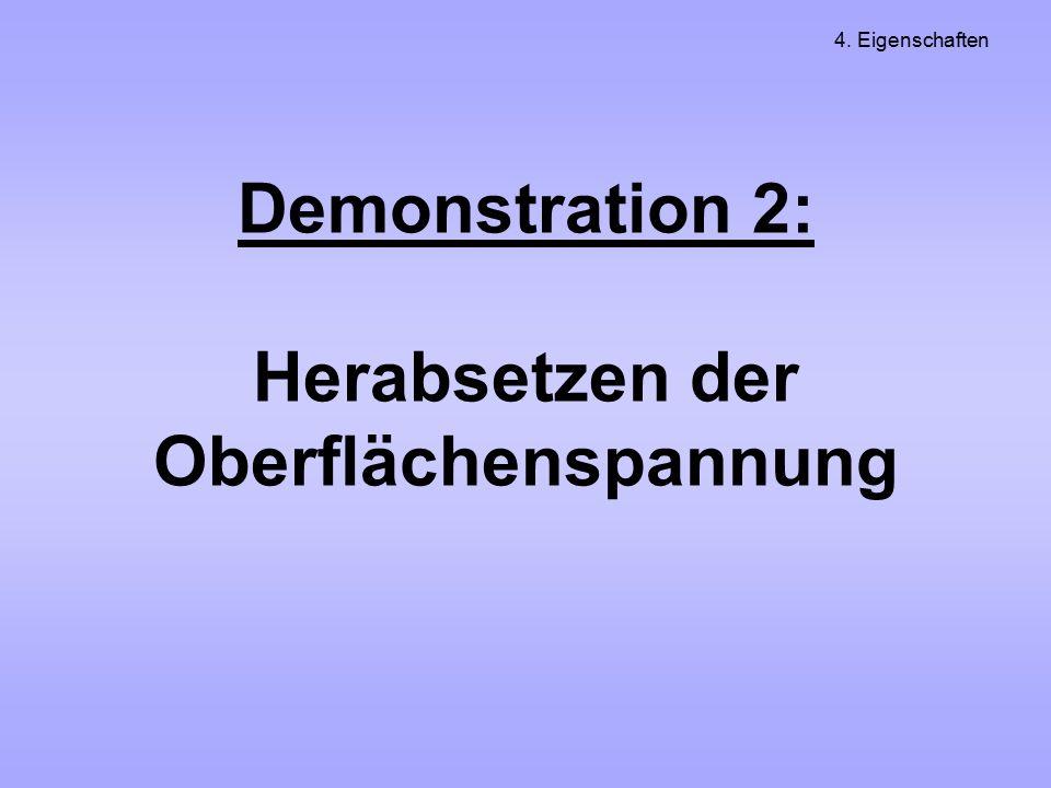 Demonstration 2: Herabsetzen der Oberflächenspannung