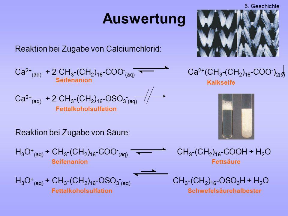 Auswertung Reaktion bei Zugabe von Calciumchlorid: