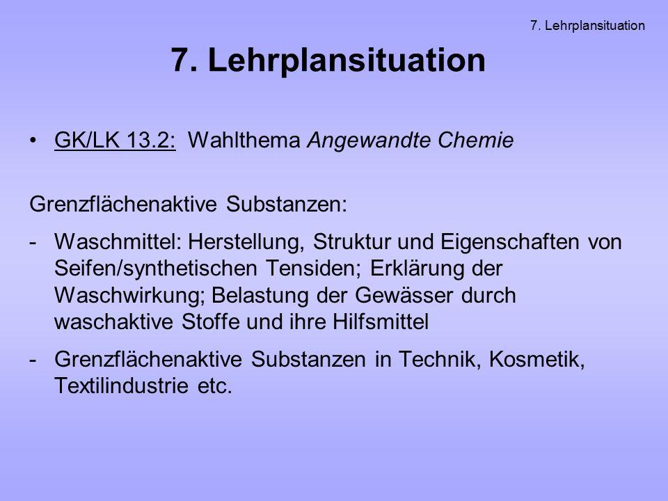 7. Lehrplansituation GK/LK 13.2: Wahlthema Angewandte Chemie