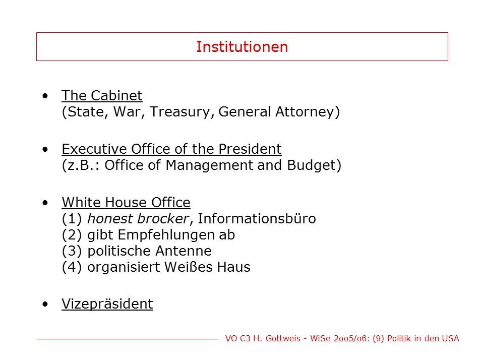 Institutionen The Cabinet (State, War, Treasury, General Attorney)