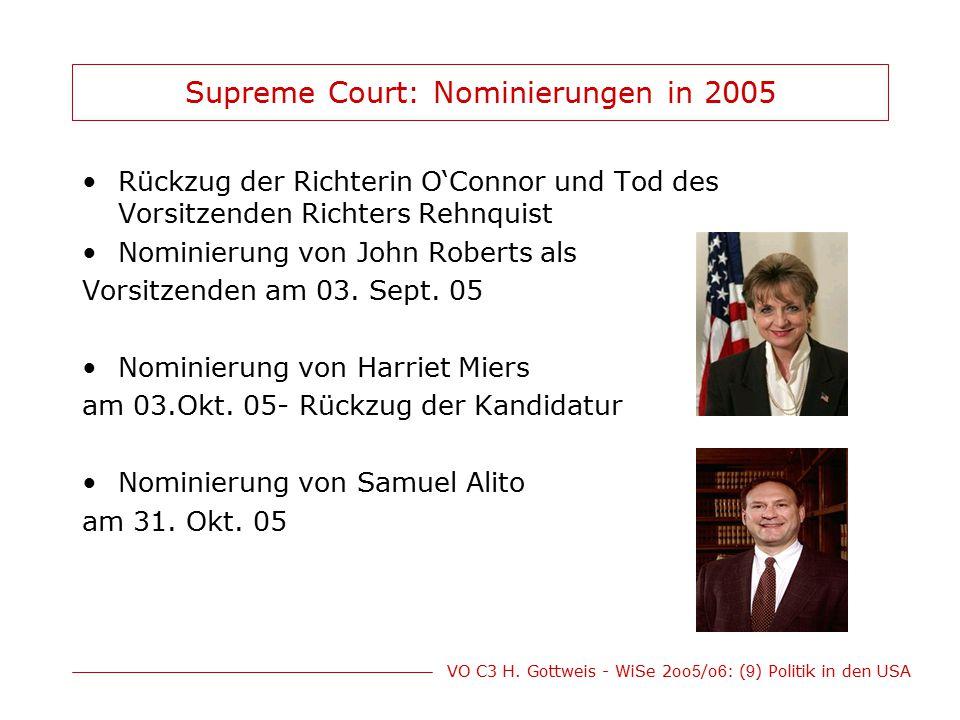 Supreme Court: Nominierungen in 2005