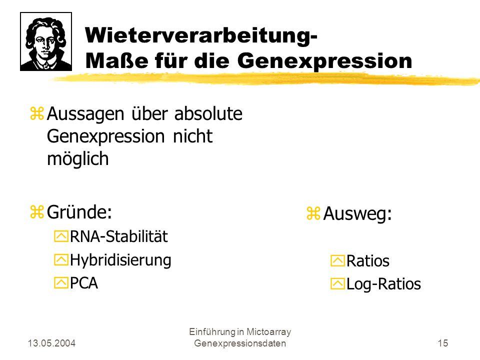 Wieterverarbeitung- Maße für die Genexpression