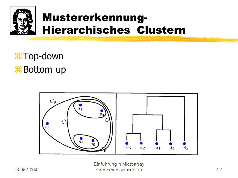 Mustererkennung- Hierarchisches Clustern