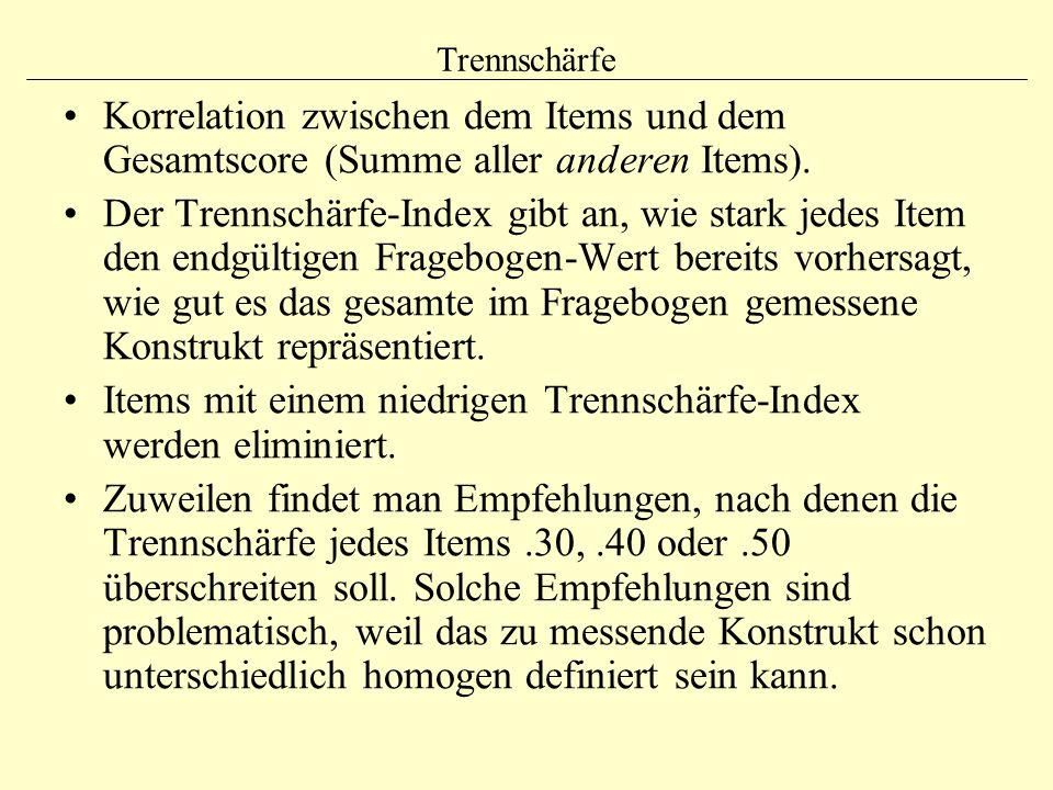 Items mit einem niedrigen Trennschärfe-Index werden eliminiert.
