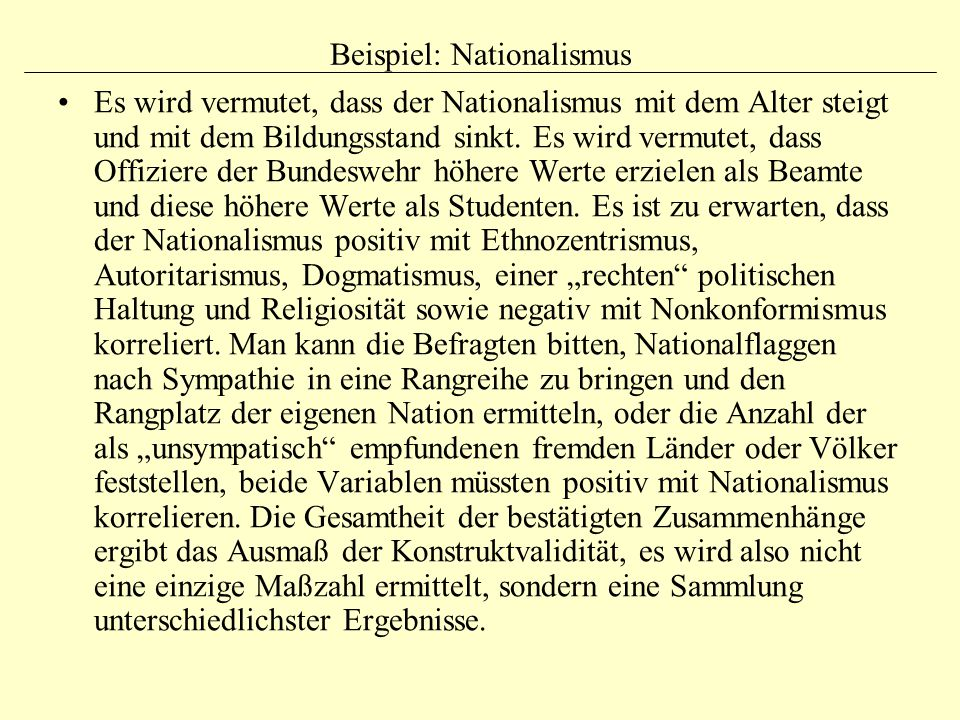 Beispiel: Nationalismus