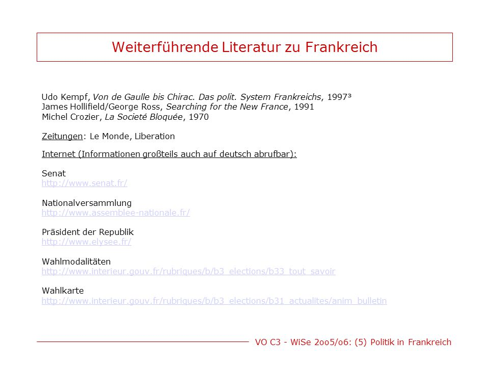 Weiterführende Literatur zu Frankreich