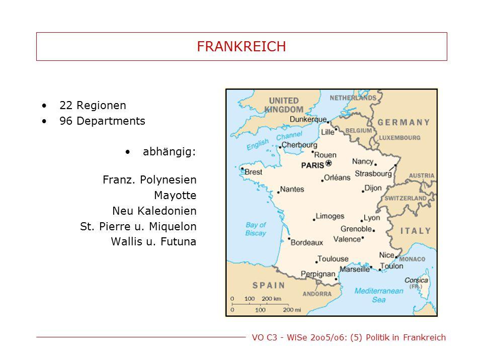FRANKREICH 22 Regionen 96 Departments abhängig: Franz. Polynesien