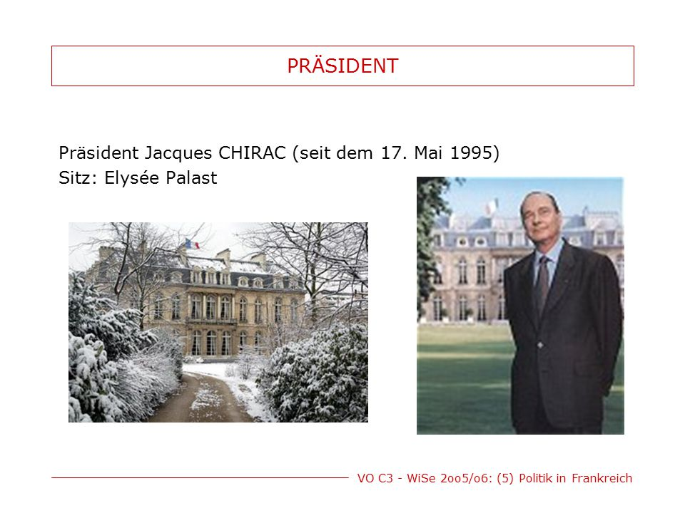 PRÄSIDENT Präsident Jacques CHIRAC (seit dem 17. Mai 1995)