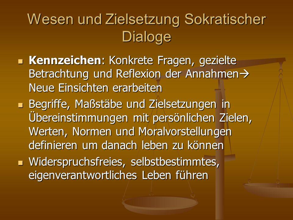 Wesen und Zielsetzung Sokratischer Dialoge