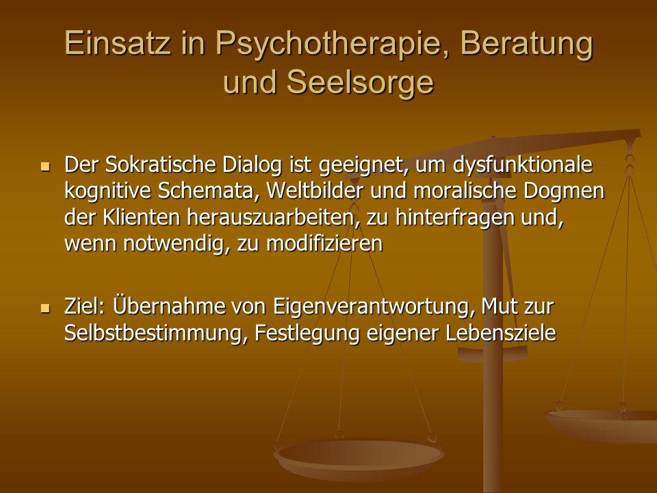 Einsatz in Psychotherapie, Beratung und Seelsorge