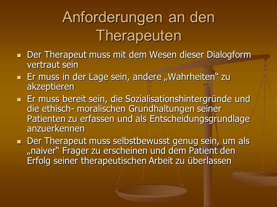 Anforderungen an den Therapeuten