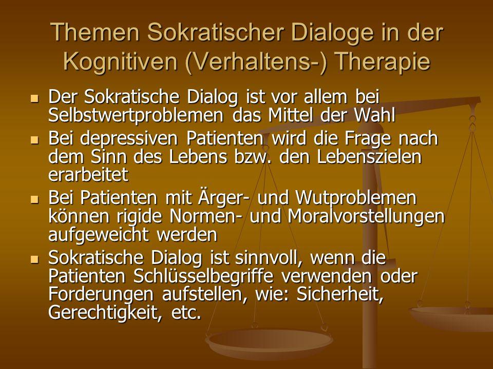Themen Sokratischer Dialoge in der Kognitiven (Verhaltens-) Therapie