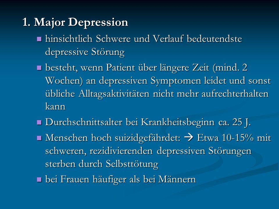 1. Major Depression hinsichtlich Schwere und Verlauf bedeutendste depressive Störung.