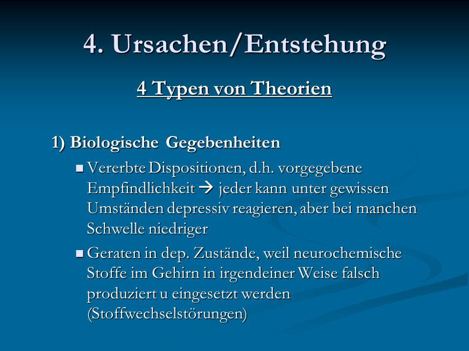4. Ursachen/Entstehung 4 Typen von Theorien