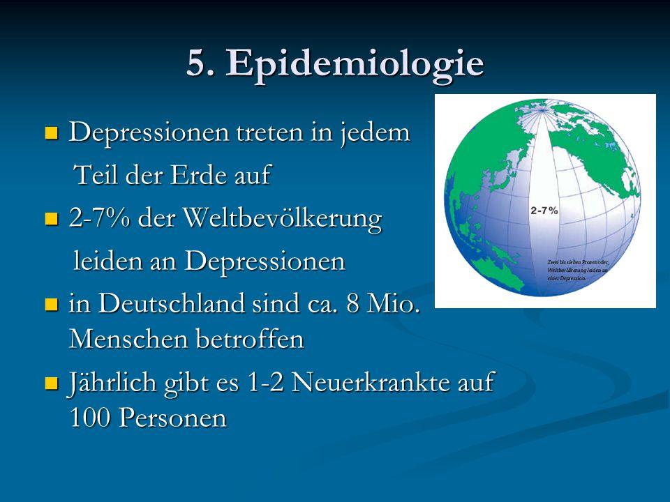 5. Epidemiologie Depressionen treten in jedem Teil der Erde auf