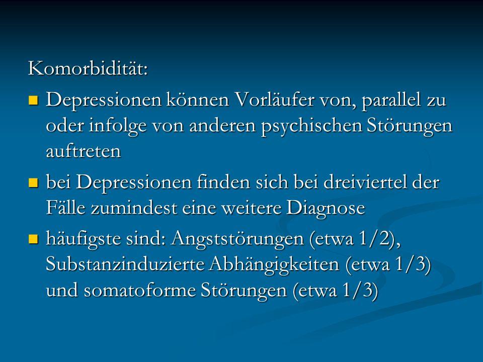 Komorbidität: Depressionen können Vorläufer von, parallel zu oder infolge von anderen psychischen Störungen auftreten.