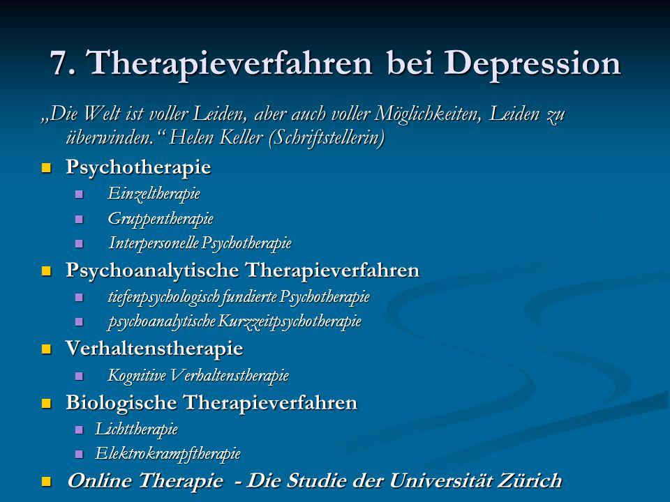 7. Therapieverfahren bei Depression