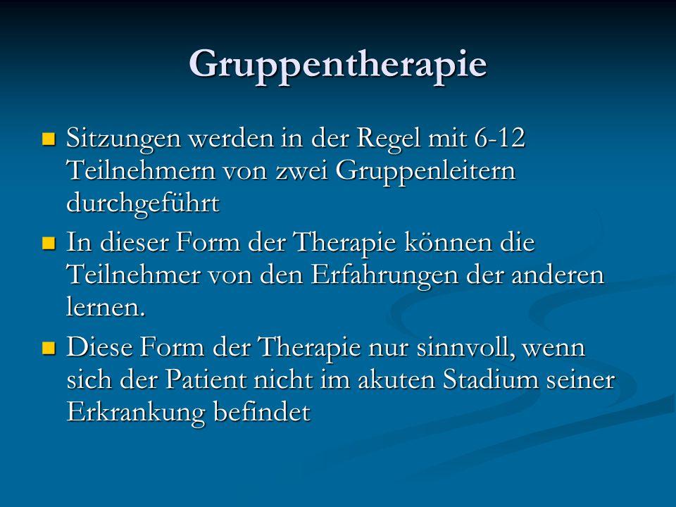 Gruppentherapie Sitzungen werden in der Regel mit 6-12 Teilnehmern von zwei Gruppenleitern durchgeführt.