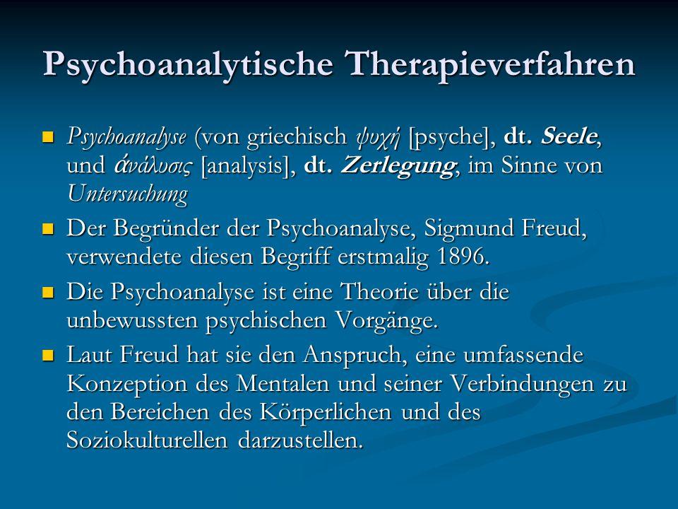 Psychoanalytische Therapieverfahren