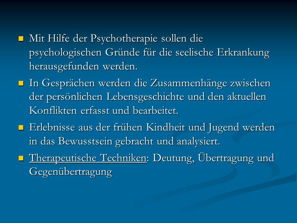 Mit Hilfe der Psychotherapie sollen die psychologischen Gründe für die seelische Erkrankung herausgefunden werden.