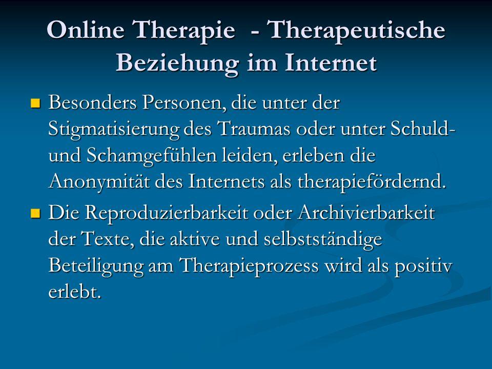 Online Therapie - Therapeutische Beziehung im Internet