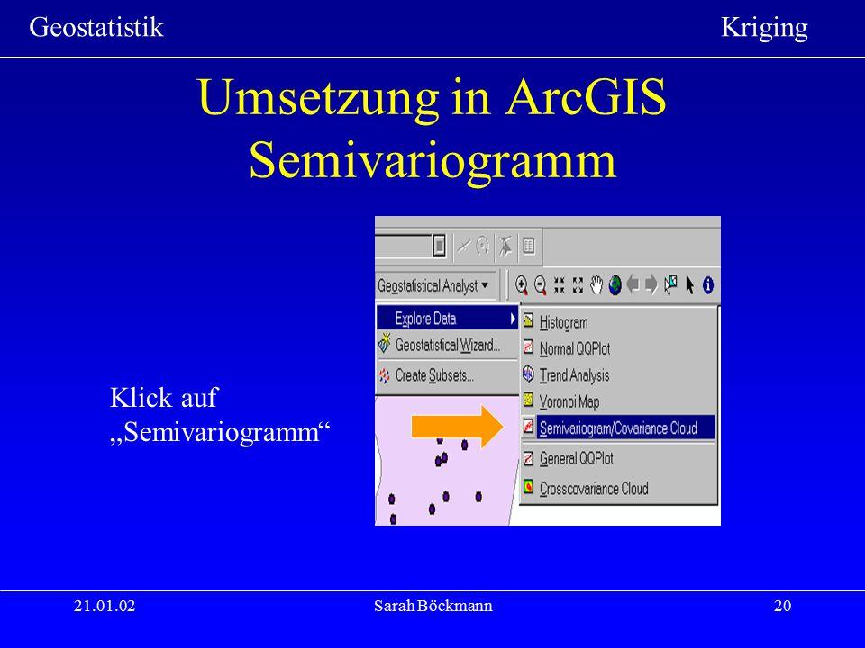 Umsetzung in ArcGIS Semivariogramm