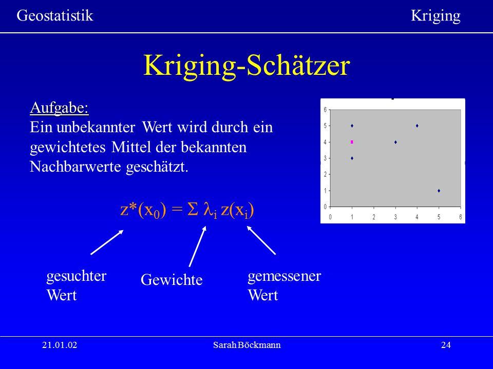 Kriging-Schätzer z*(x0) =  i z(xi) Aufgabe: