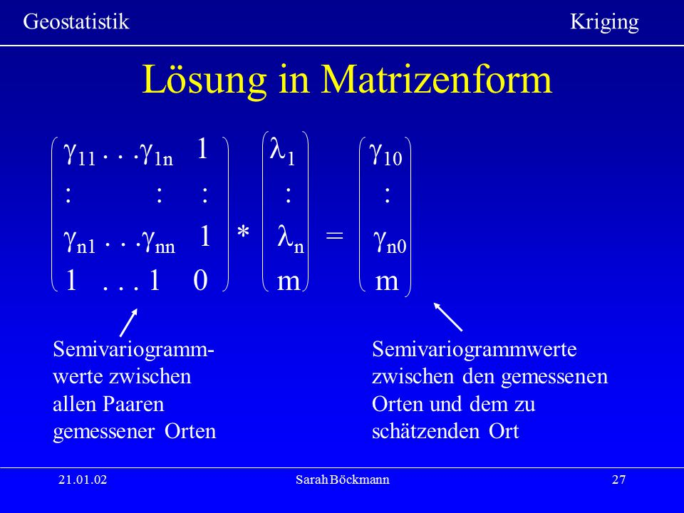 Lösung in Matrizenform
