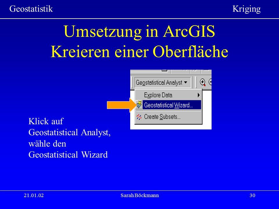 Umsetzung in ArcGIS Kreieren einer Oberfläche