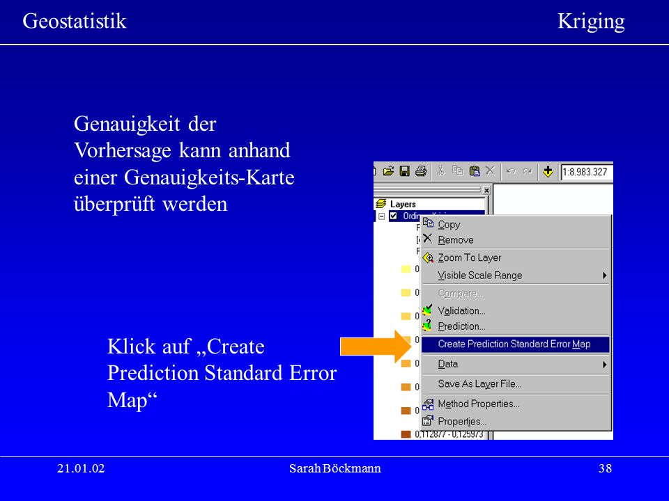 "Klick auf ""Create Prediction Standard Error Map"