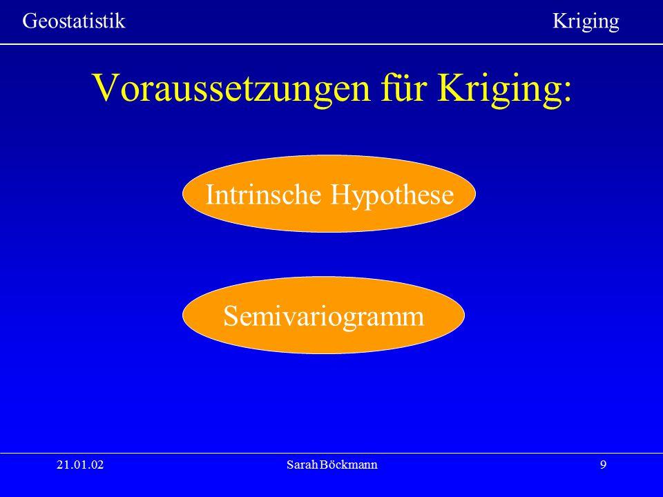 Voraussetzungen für Kriging: