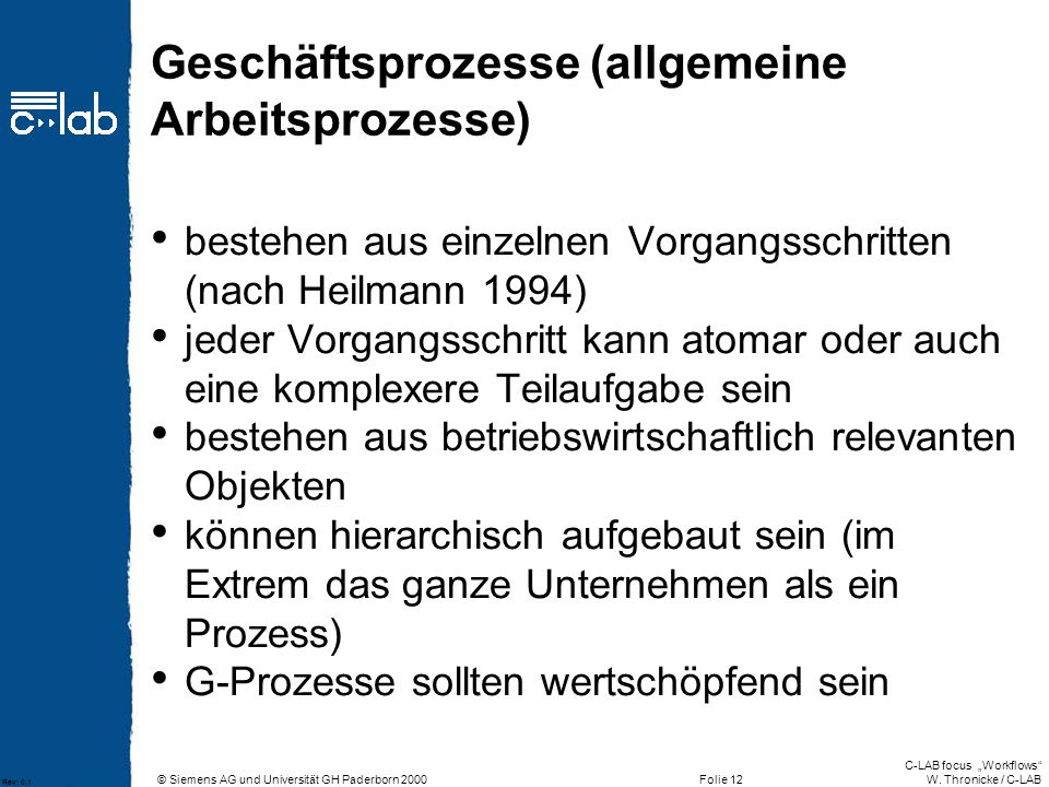 Geschäftsprozesse (allgemeine Arbeitsprozesse)