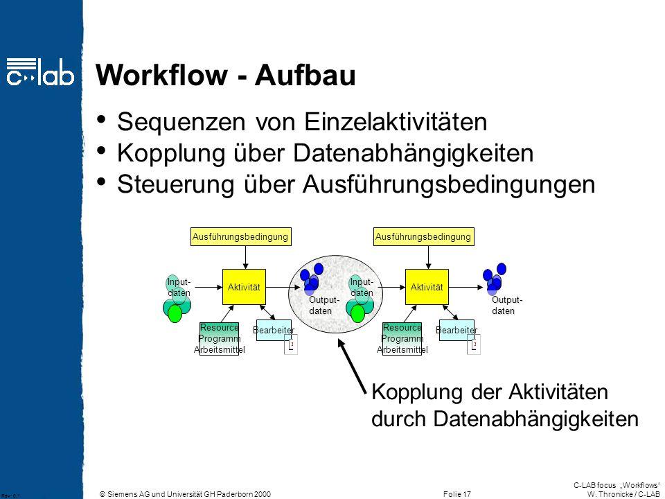 Workflow - Aufbau Sequenzen von Einzelaktivitäten