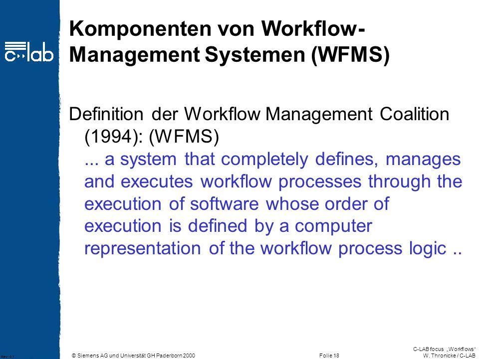 Komponenten von Workflow-Management Systemen (WFMS)