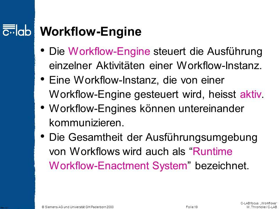 Workflow-Engine Die Workflow-Engine steuert die Ausführung einzelner Aktivitäten einer Workflow-Instanz.