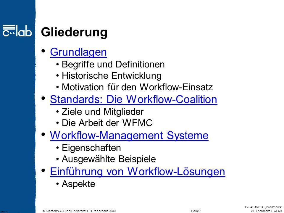 Gliederung Grundlagen Standards: Die Workflow-Coalition