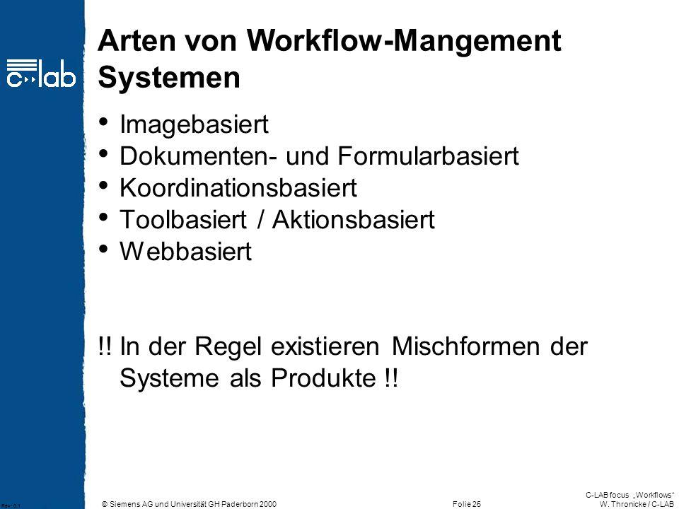 Arten von Workflow-Mangement Systemen