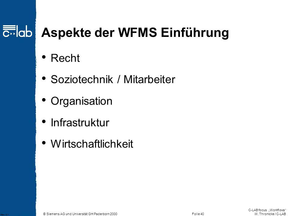 Aspekte der WFMS Einführung
