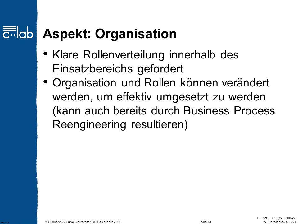 Aspekt: Organisation Klare Rollenverteilung innerhalb des Einsatzbereichs gefordert.