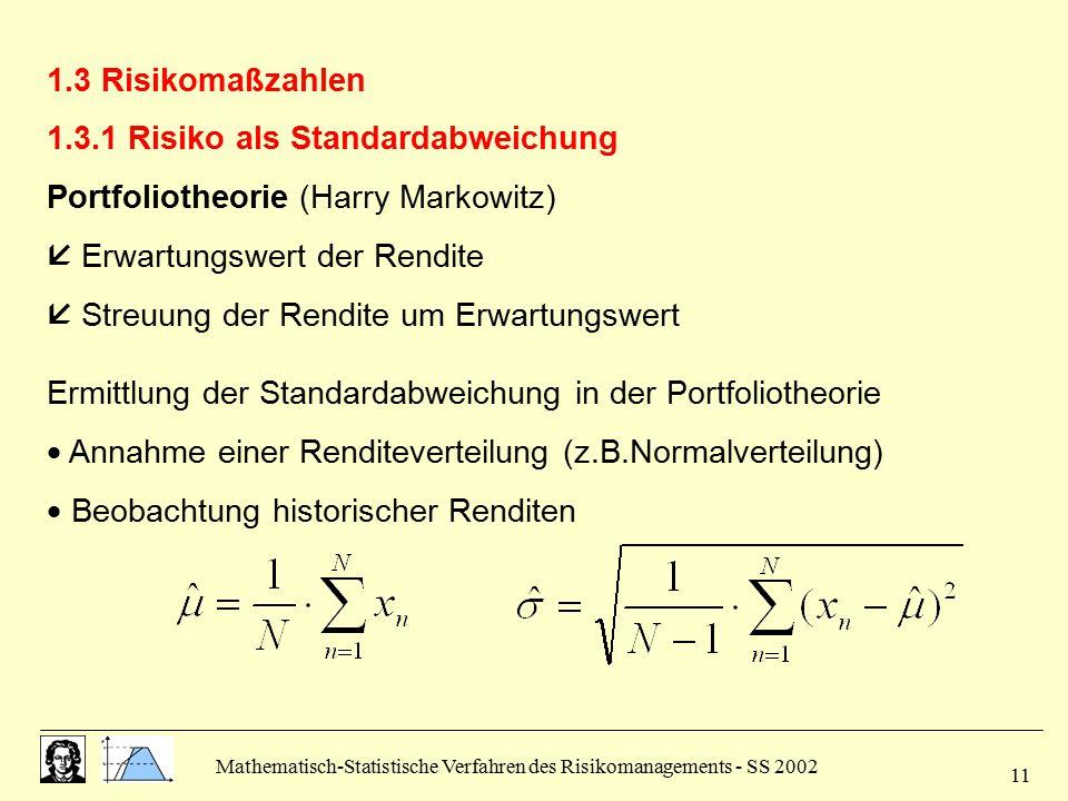 1.3.1 Risiko als Standardabweichung Portfoliotheorie (Harry Markowitz)