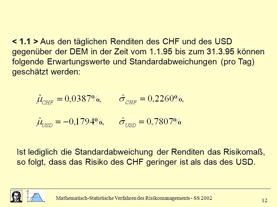 < 1.1 > Aus den täglichen Renditen des CHF und des USD gegenüber der DEM in der Zeit vom 1.1.95 bis zum 31.3.95 können folgende Erwartungswerte und Standardabweichungen (pro Tag) geschätzt werden:
