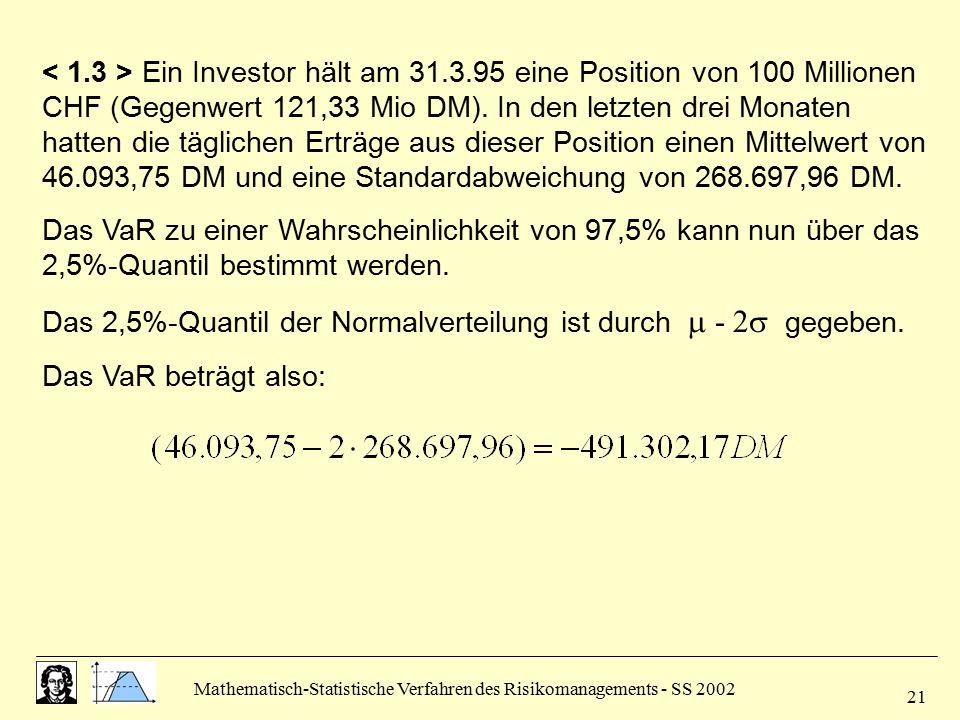 Das 2,5%-Quantil der Normalverteilung ist durch  - 2 gegeben.